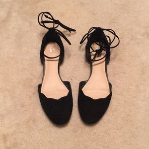 BP lace up scallop suede flat - size 8.5